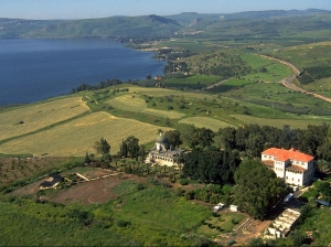 The Mount of the Beatitudes overlooking the Sea of Galilee.