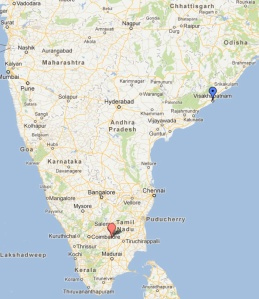 Vizag is the blue marker.  Karur is the red marker