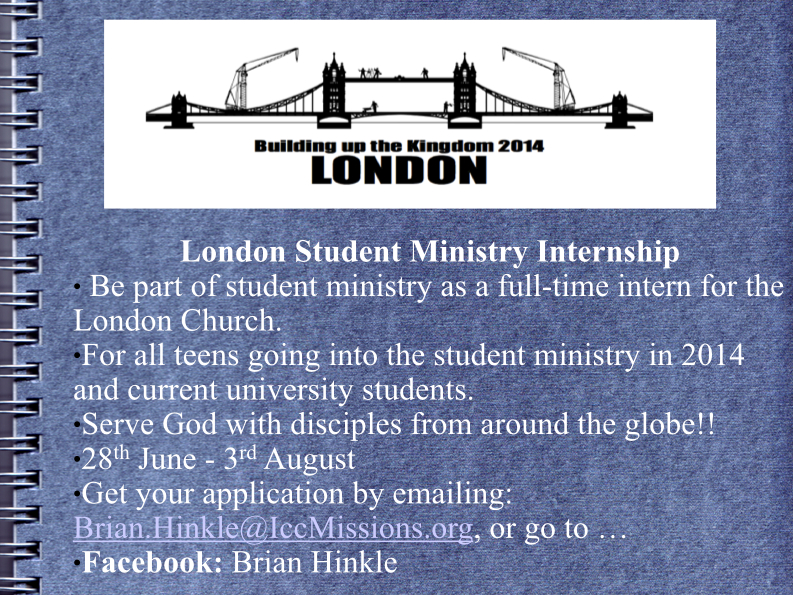London Student Ministry Internship
